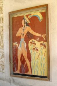 Старинная фреска на стене Кносского дворца