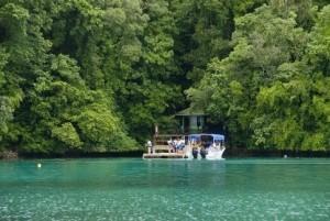 Причал на озере Медуз в Палау