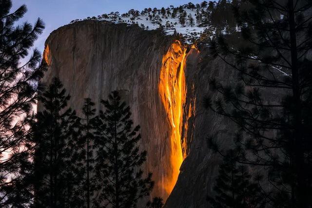 Лошадиный хвост в США - Огненный водопад Йосемити