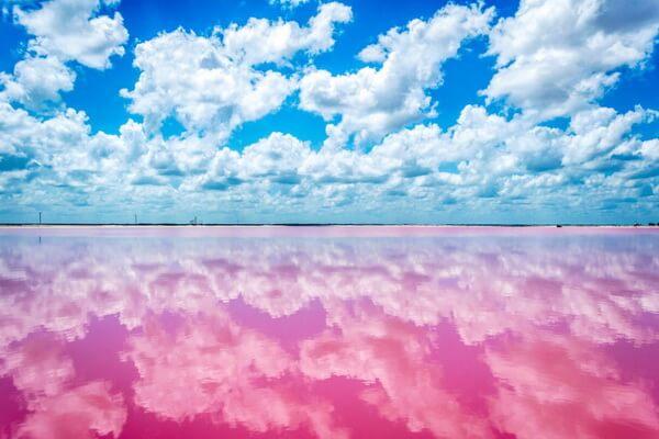 Розовое озеро Лас-Колорадас в Мексике