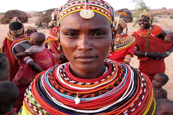 Быт людей племени самбуру в Кении